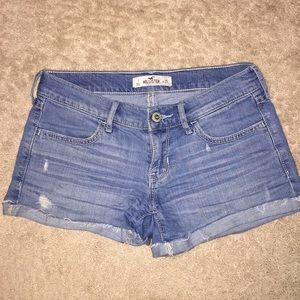 Hollister light wash distressed shorts